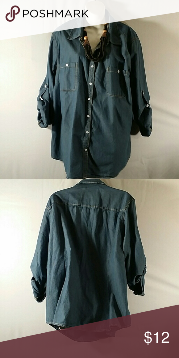 NWOT * Button Down Top * Plus Size Beautiful * Blue w/Tan Stitching * Long Sleeve or 3/4 Sleeve * Cotton * Bundle and Save Faded Glory Tops Button Down Shirts