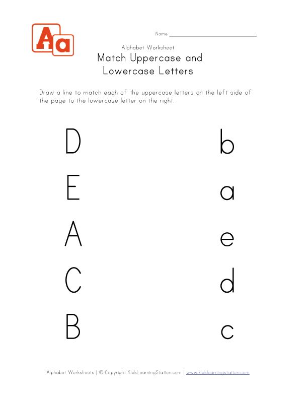 matching uppercase and lowercase letters Kid Stuff – Letter Matching Worksheets