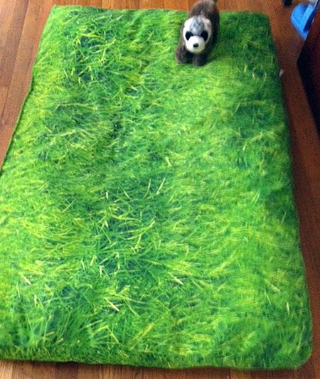 Custom dog bed in outdoor grass printed fabric.