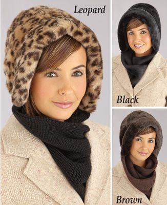 ff8af5476a44e Faux Fur Winter Hat with Attached Scarf