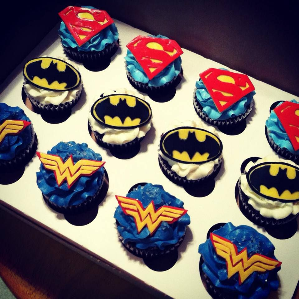 Superhero Cupcakes Superman Batman and Wonder Woman Super Hero