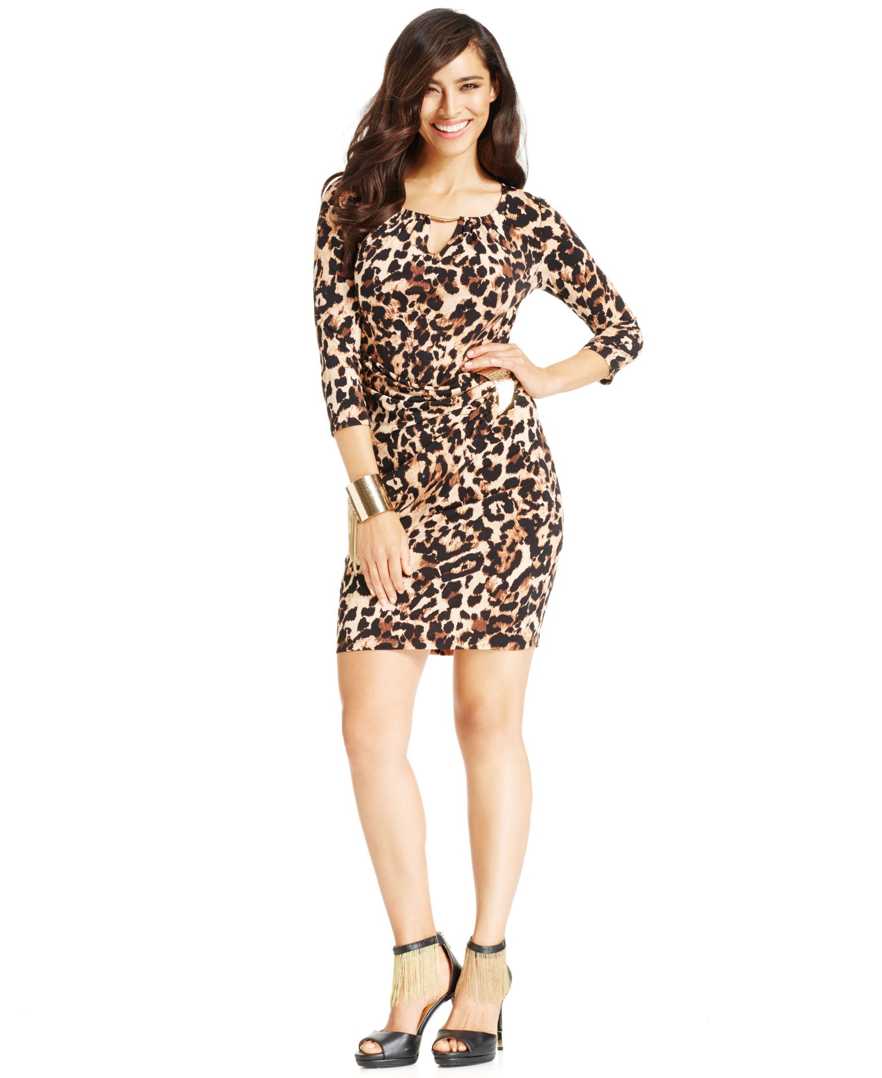Thalia Sodi Faux-Wrap Animal-Print Keyhole Dress, Only at Macy's ...