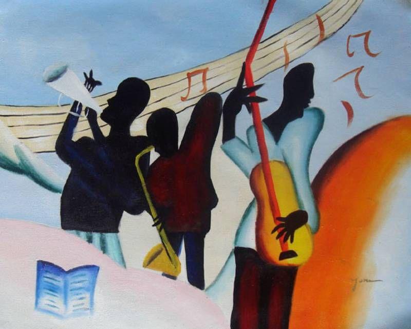 AFRICAN AMERICAN JAZZ BAND BLACK ART OIL PAINTING   Art ...