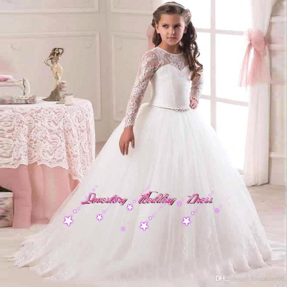 2017 White Long Sleeve Flower Girl Dresses For Weddings Kids Prom