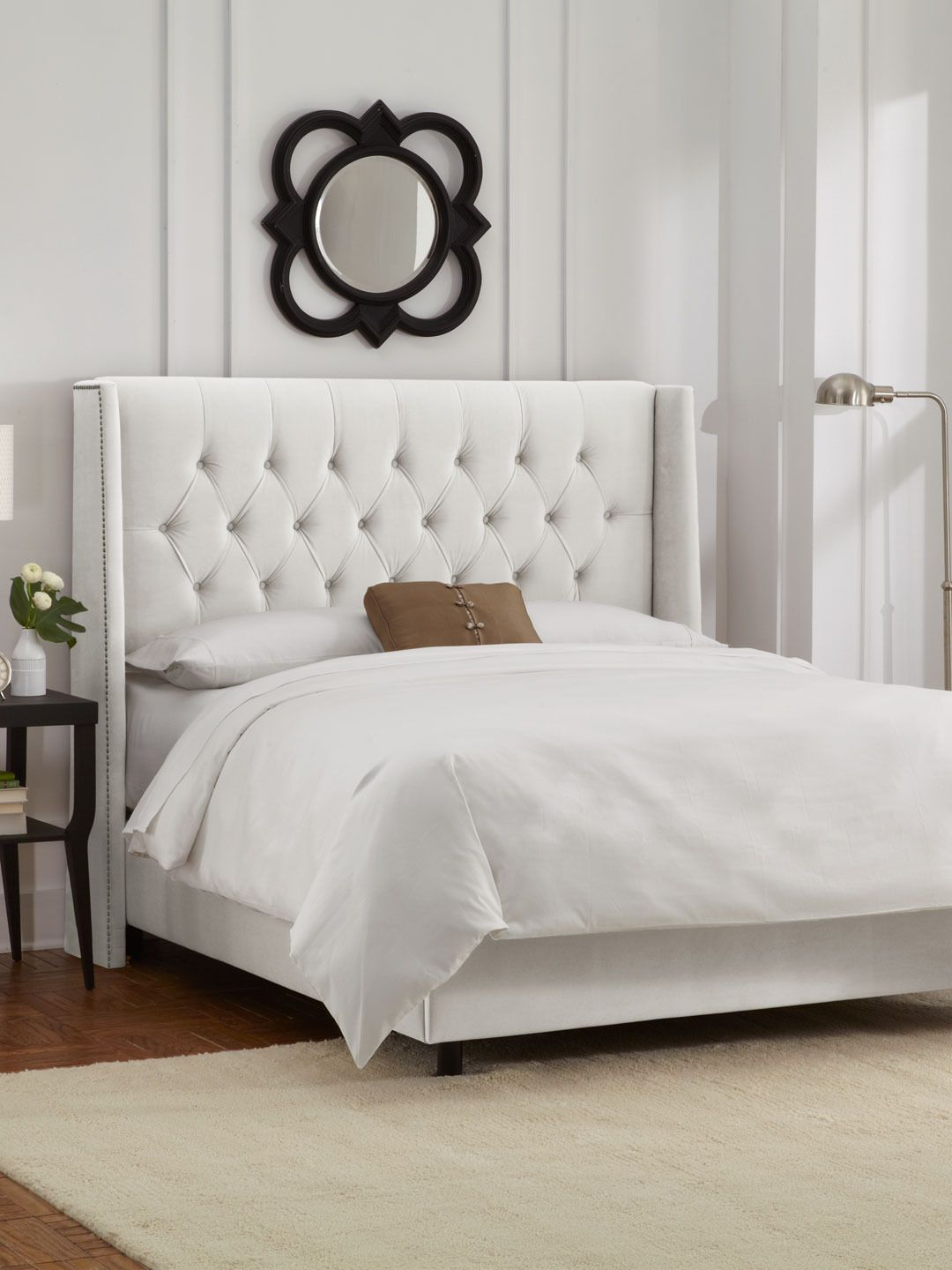 Tufted Velvet Wingback Bed with Nailhead Trim | Beds | Pinterest ...