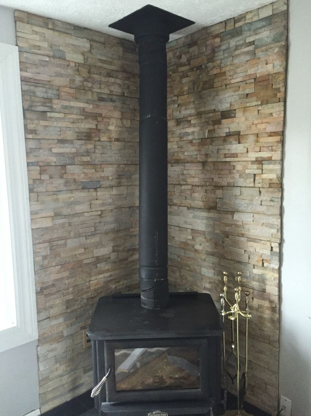 Wood stove surround. - Our DIY Wood Stove Installation Wood Burning, Stove And Apartments