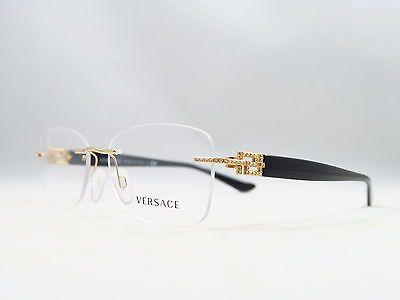 ... Óculos De 8ebd09c498d875  Versace MOD 1225-B 1002 Gold Black Rimless  New Authentic Eyeglasses 53 16 135mm 7ec3a6ff132feb ... 07b6eceb28