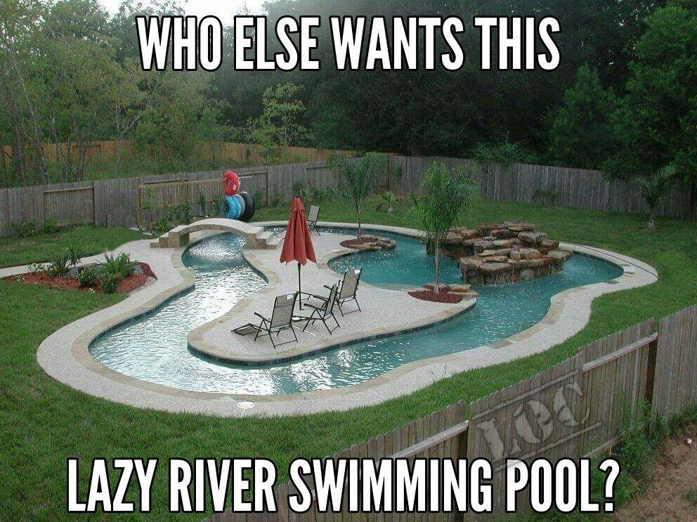 Backyard Lazy River, Lazy River Pool, Pool Zubehör, Zaun Ideen, Hof Ideen,  Outdoor Spaß, Leben Unter Freiem Himmel, Schwimmbäder