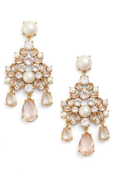 Kate Spade New York Posy Petals Crystal Chandelier Earrings Flower Bridal