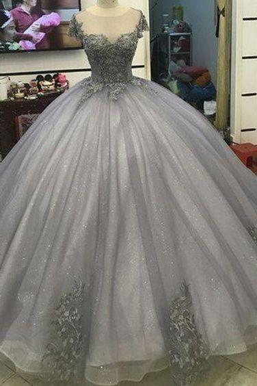 Ball Gown Prom Dresses,Light Grey Prom Dresses,Applique Prom Dresses ...