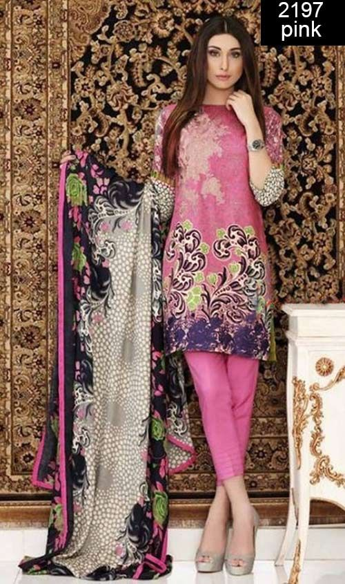 WYSS- 2197- PINK - Embroidery Designer 3pc Lawn Suit With Chiffon ...