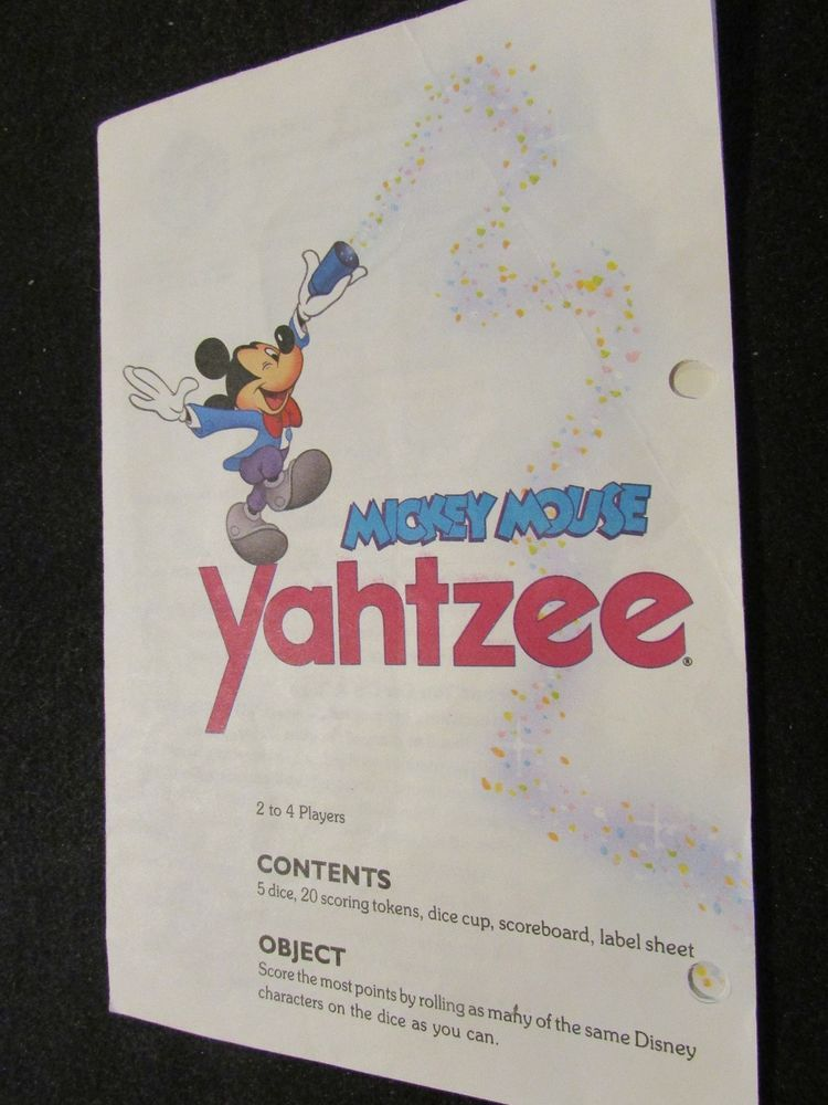 1988 Yahtzee Mickey Mouse Edition Instructions Board Game Parts