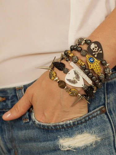 Spikes? Check. Studs? Check. Skull and crossbones? Obviously. Basically what we're trying to say is stack a ton of badass bracelets up your wrist and go. We like these from Electric Picks, $48-$120, electricpicks.com.   - Cosmopolitan.com