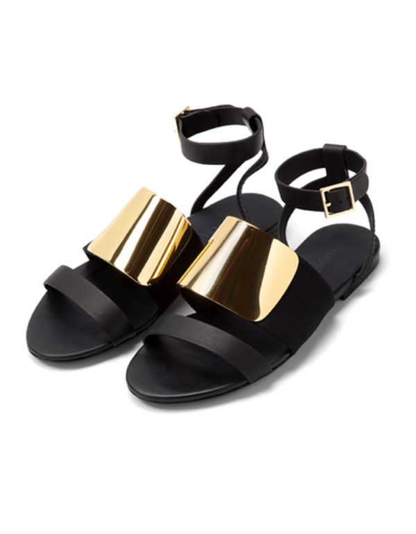 0bf607a997 See By Chloe Black with Metal Flat Sandal   k i c k s   Flat sandals ...