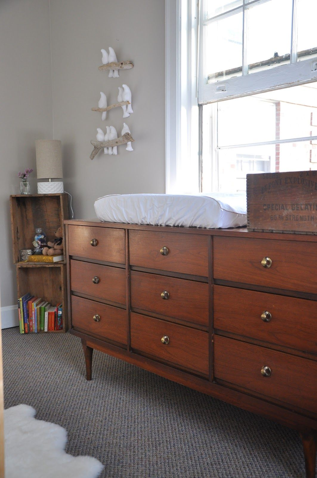 Mid Century Dresser Changing Table   Nursery Ideas   I Like The Crates In  The Corner