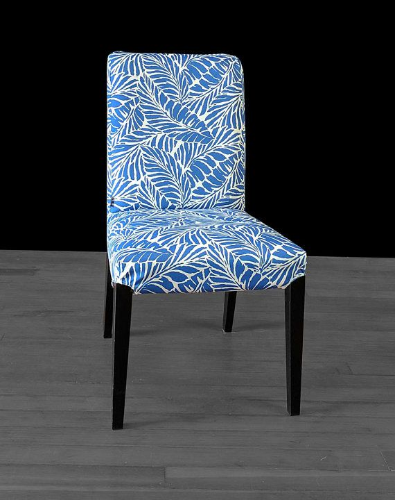 Blue Palm Leaves IKEA HENRIKSDAL Custom Dining Chair Cover ...