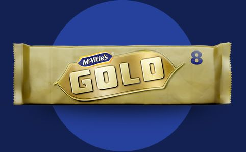 The Mcvities Gold Bar Contains Golden White Chocolate With