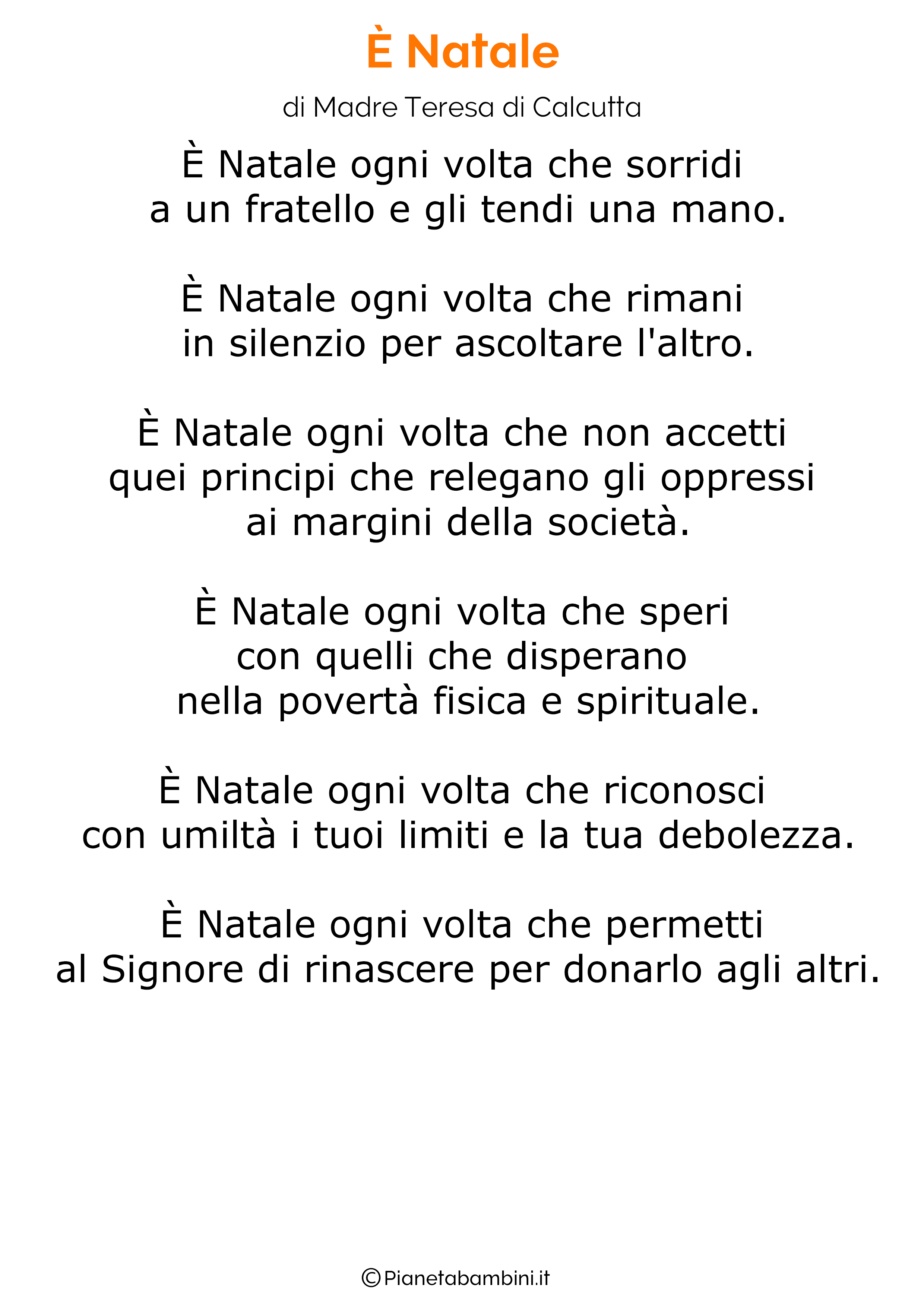 Poesie Sul Natale Di Madre Teresa Di Calcutta.45 Poesie Di Natale Per Bambini Pianetabambini It Natale Parole Di Natale Natale Italiano