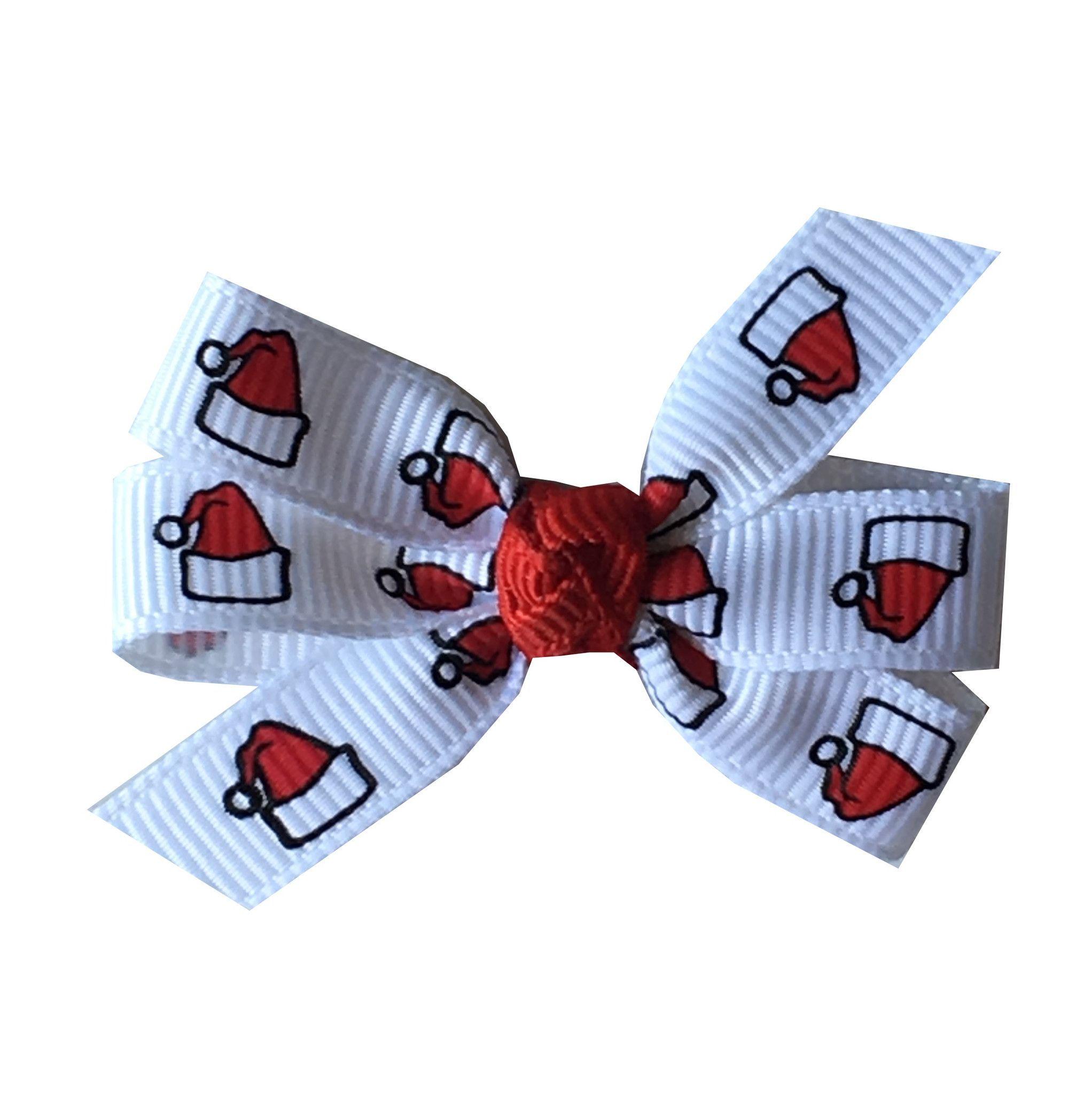 """Santa Hat Small 2"""" Pinwheel Hair Bow"""