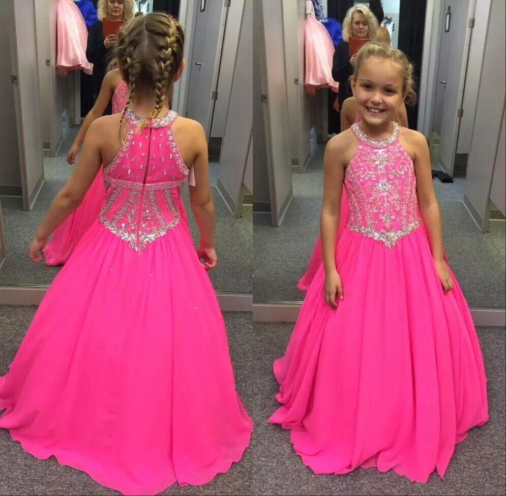 fuchsia girls pageant dresses beaded crystals halter neck kids