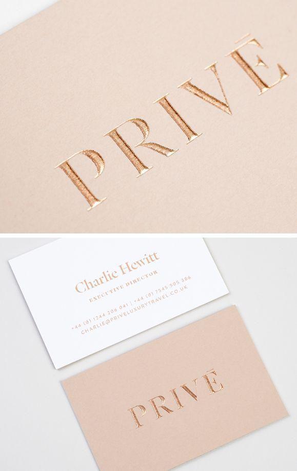 Rose gold embossing - Prive /   Design . Logos   Pinterest ...