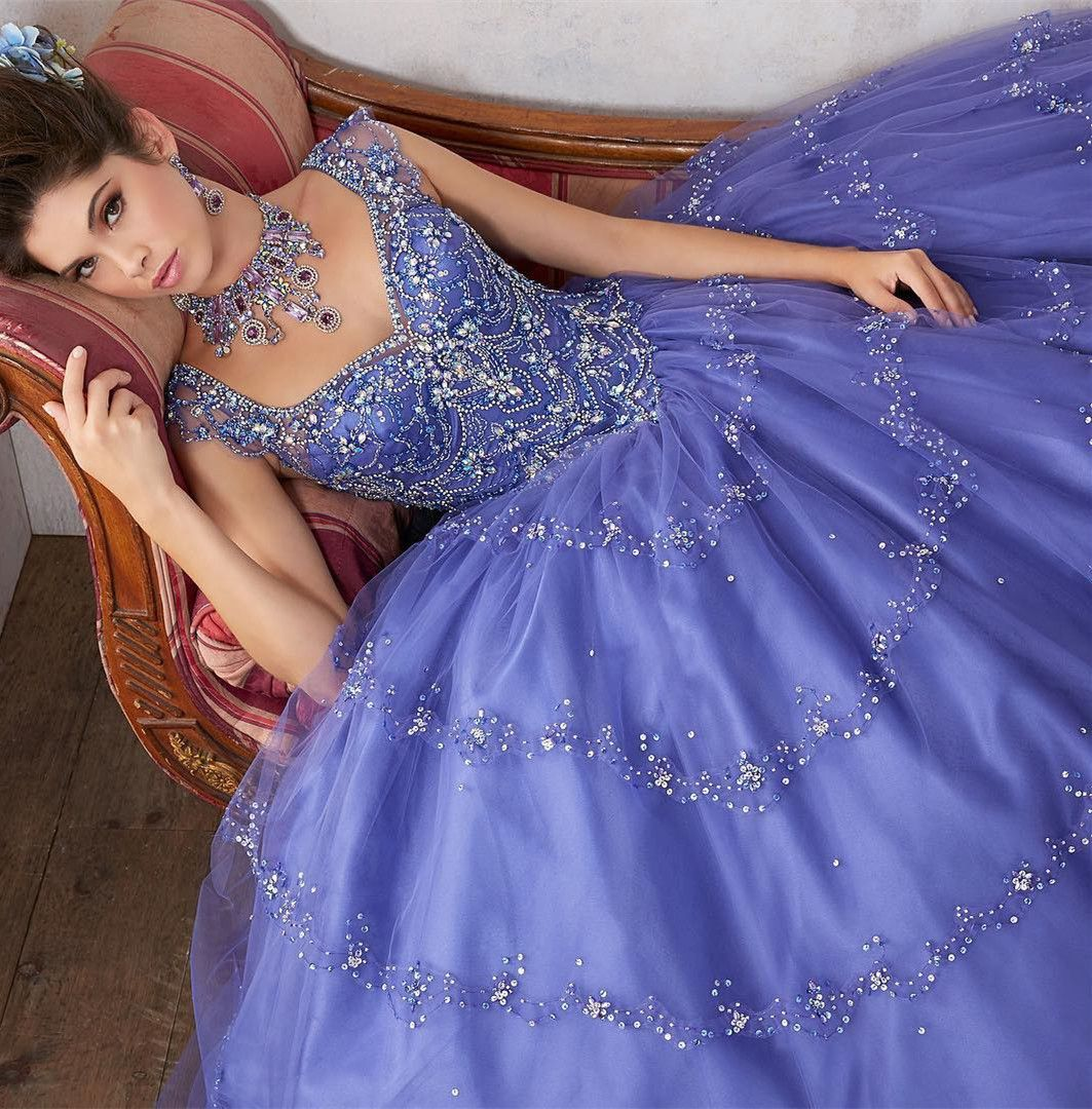 Ball gown scoop purple tulle quinceanera dress with beading fancy