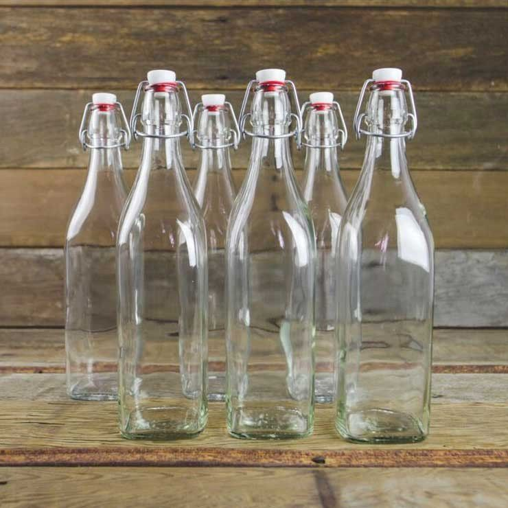 Square Swing Top Bottles 16 Oz Set Of 6 Air Tight Bottles Ideal
