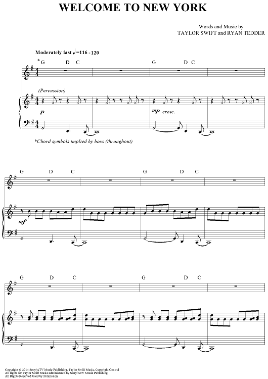 Welcome To New York Sheet Music by Taylor Swift | Sheet music ...