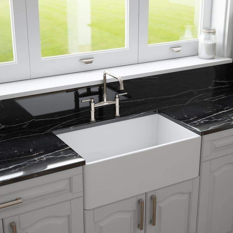 Crestwood 30 white farmhouse sink smoothfluted front