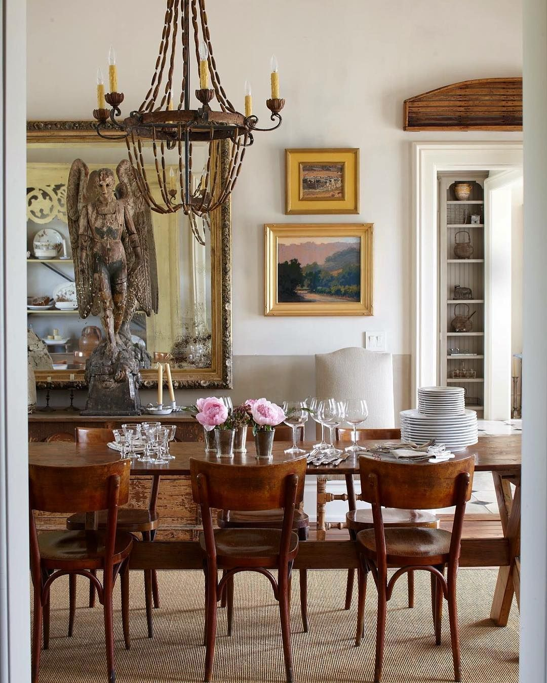 Eclectic Sonoma Dining Room With Massive Gilt Mirror 18th C Angel Dining Table In Kitchen Classic Decor Home N Decor