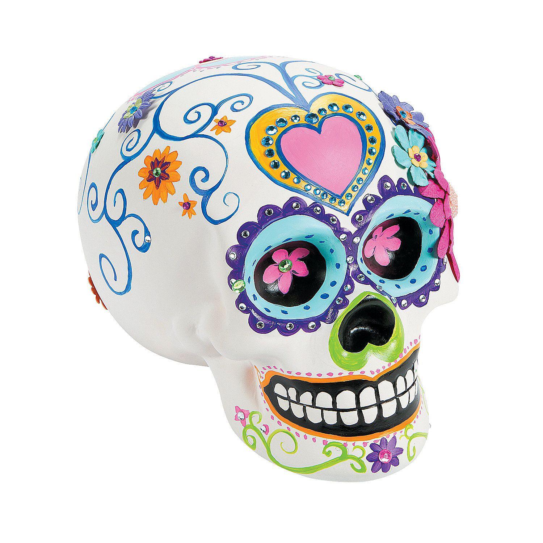 Diy Ceramic Skull Oriental Trading In 2020 Skull Crafts Diy Ceramic Halloween Diy Crafts