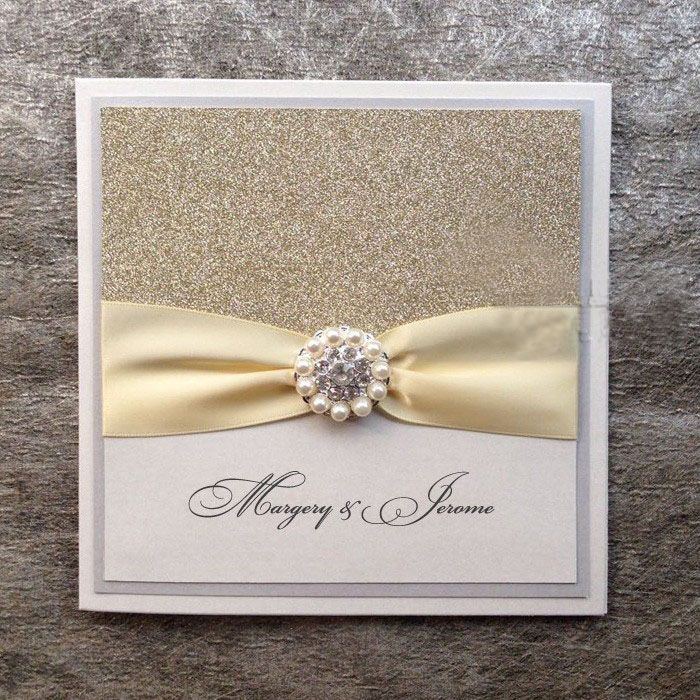 Silver Glitter Wedding Invitations Handmade Invitations