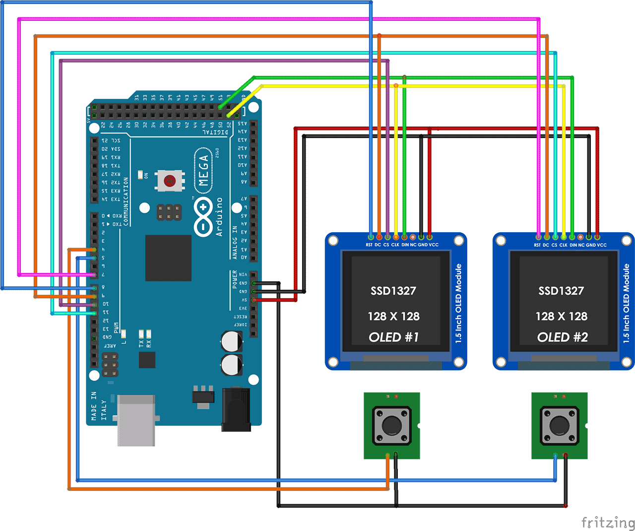 Https Www Brainy Bits Com Two Oled Display With Arduino Arduino Arduino Board Tact Switch