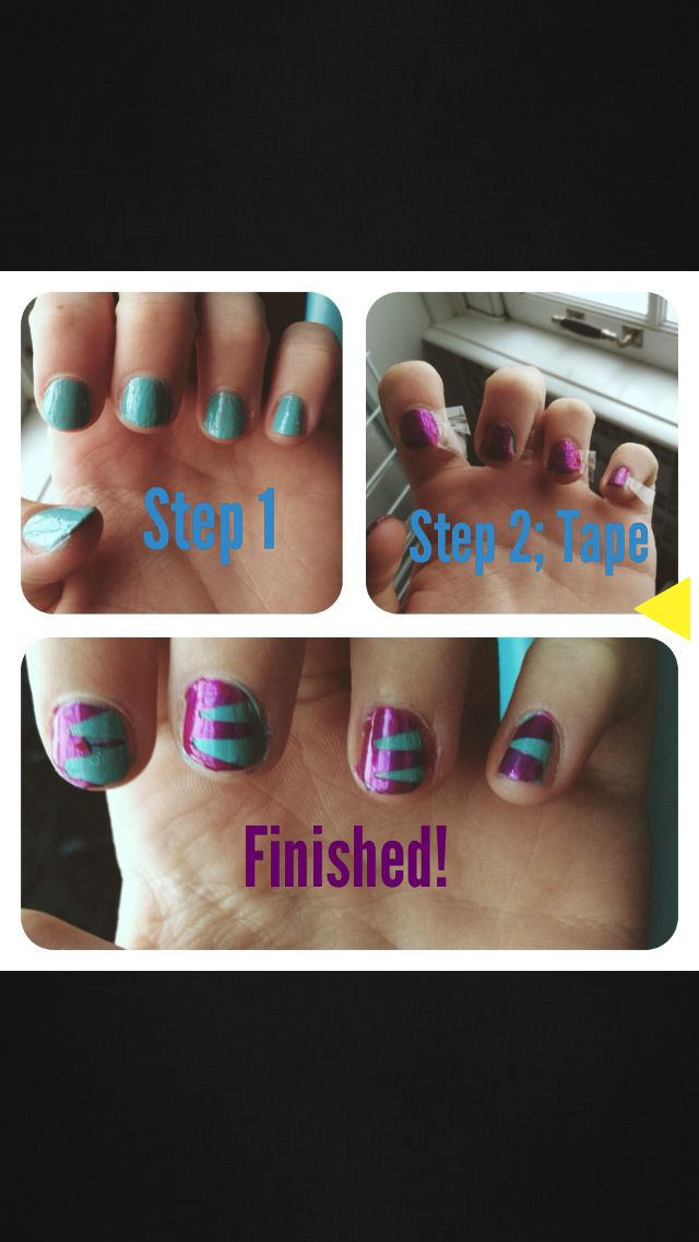 Step 1:  Chose two colours and paint one of them on your nails. Step 2: Cut a triangle in the tape and place it onto your nails. Step 3: Wait for it to dry and then take it off. Ta Da!