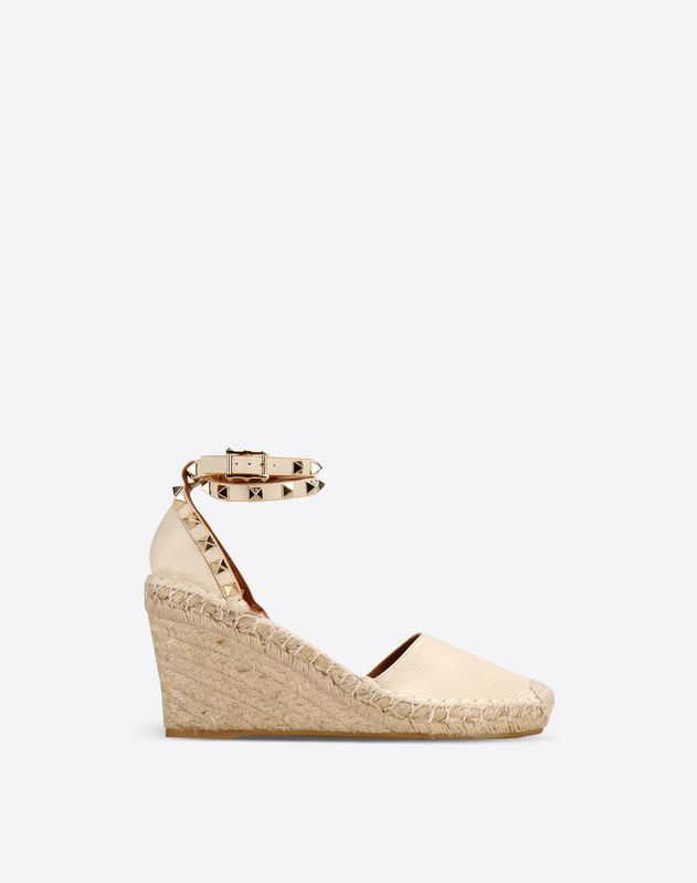 c3829a08b92 VALENTINO GRAIN CALFSKIN LEATHER ROCKSTUD DOUBLE WEDGE ESPADRILLES 65MM.   valentino  shoes