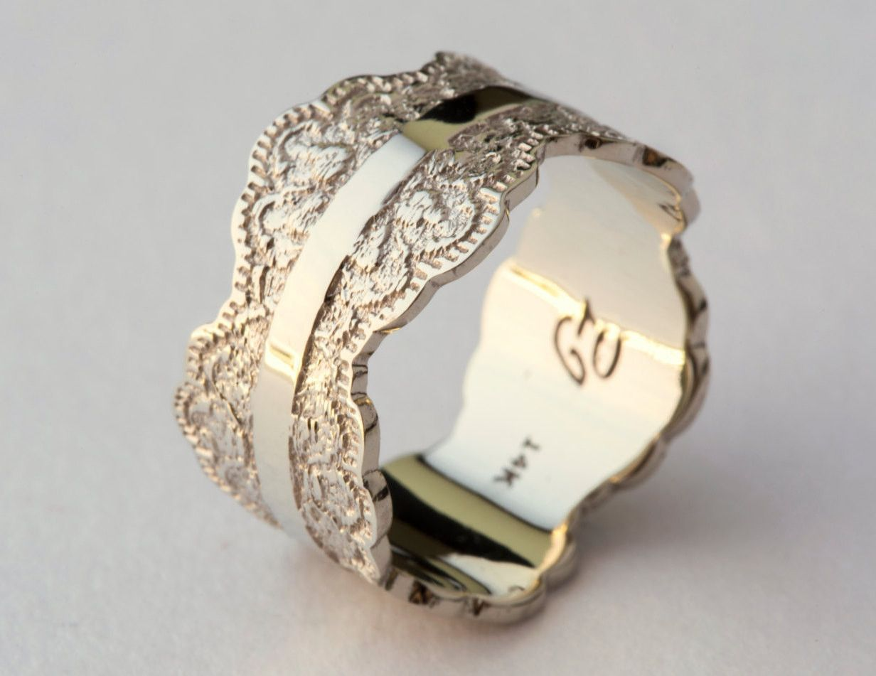 Swirl pattern white gold wedding ring for brides fashion fill - Ring