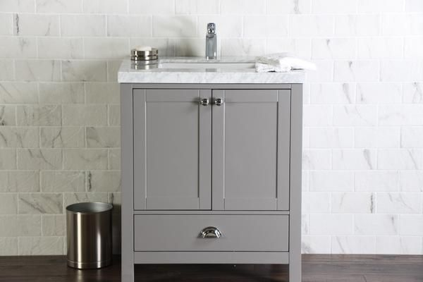 Abigail Naos Slate Grey Bathroom Vanity With Cm Bianco - 30 grey bathroom vanity