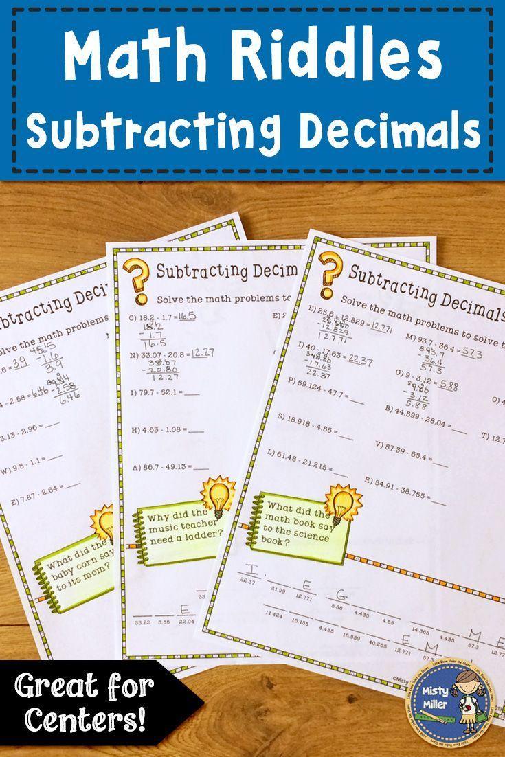 Subtracting Decimals Math with Riddles Math, Decimals