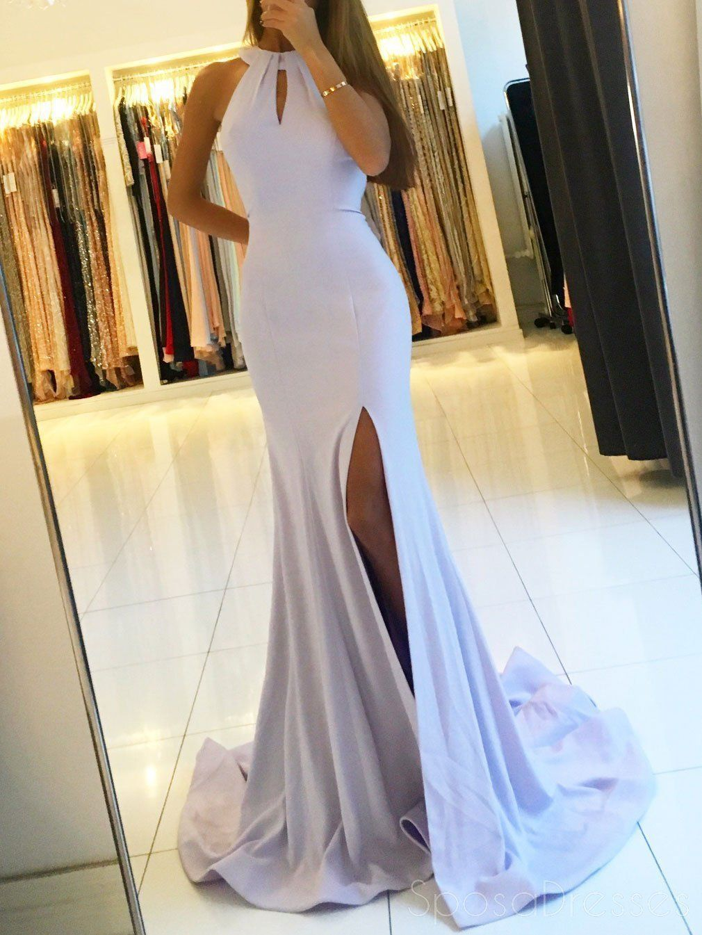 965e300c71 Sexy Side Slit Mermaid Halter Lilac Floor Length Custom Long Evening Prom  Dresses
