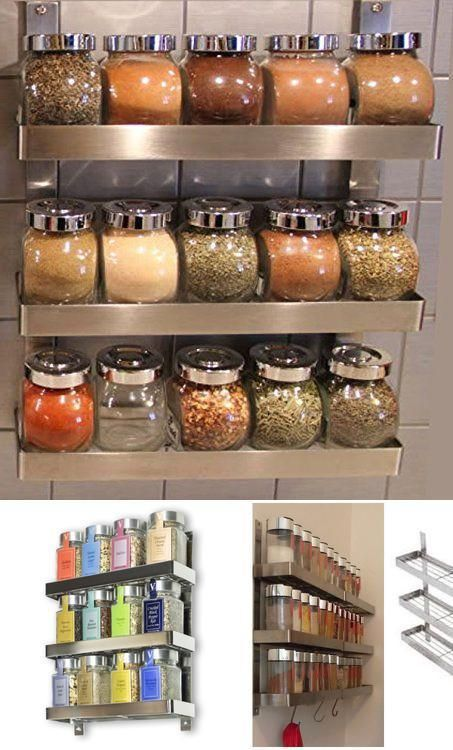Stainless Steel Shelf Rack Kitchen Spice Holder Wall Mount Kitchen