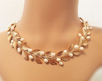 Items similar to Pearl Leaf Necklace Gold Bridal Jewelry Gold