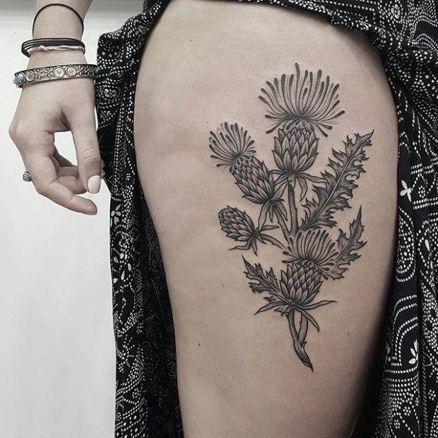 15 Thorny Thisle Tattoos | Thistle tattoo, Tattoos ...