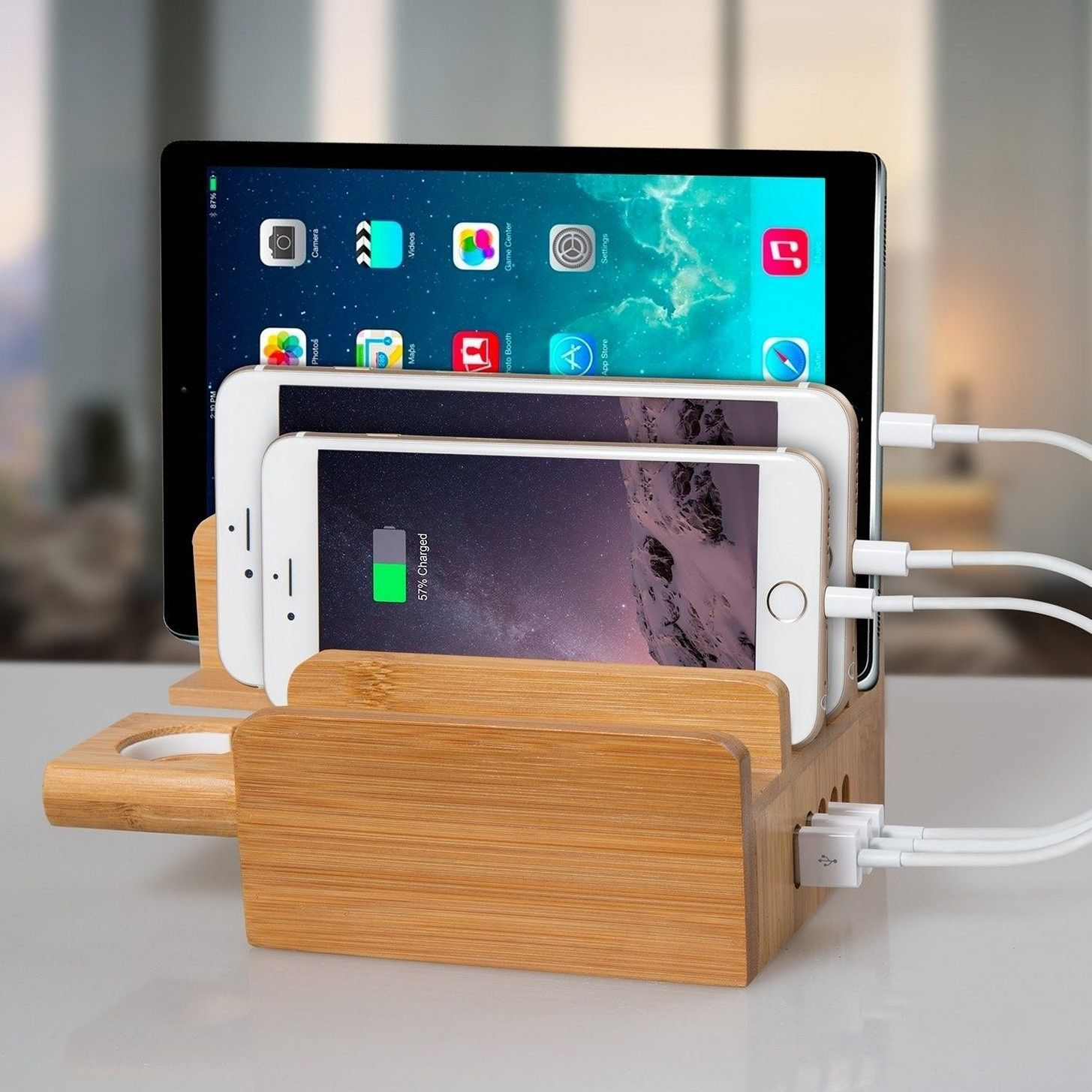 Newest Upgraded Merit Bamboo Usb Charging Station With Le Watch Stand Multi Device Desk Organizer Dock Holder For All Iphones Ipads Nexus