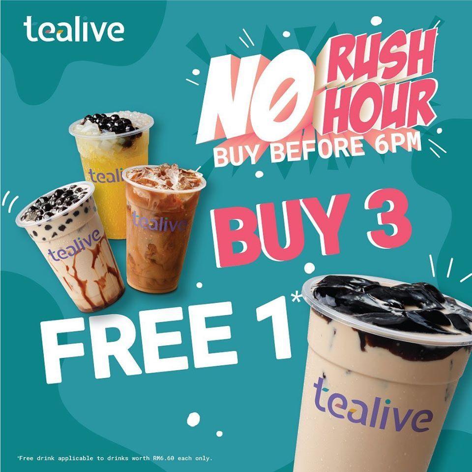 Tealive No Rush Hour Buy 3 Free 1 Promotion 24 April 2020 Onwards Food Poster Design Coffee Poster Design Promotional Design