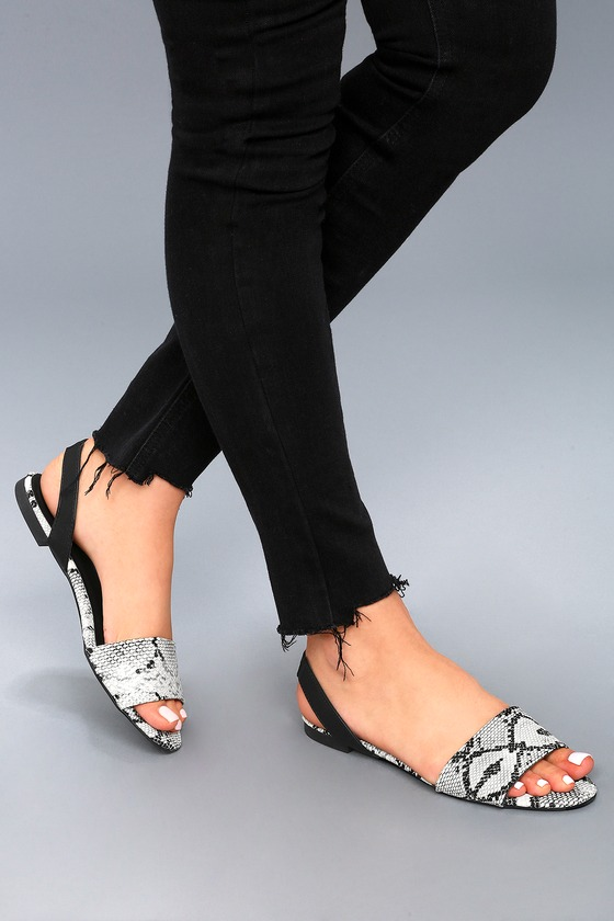 Madora Black and White Snake Print Slingback Flat Sandals | Slingback  flats, Snake print and Snake