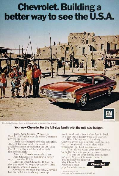 """1972 Chevelle Malibu Sport Coupe original vintage advertisement. Photographed in bright color. """"Building a better way to see the U.S.A."""""""