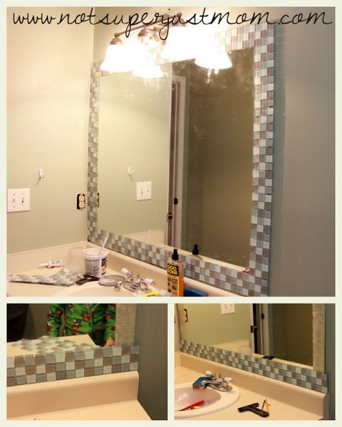 Great Idea For A Plain Mirror Now To Figure Out How To Do - Mosaic tile around bathroom mirror for bathroom decor ideas