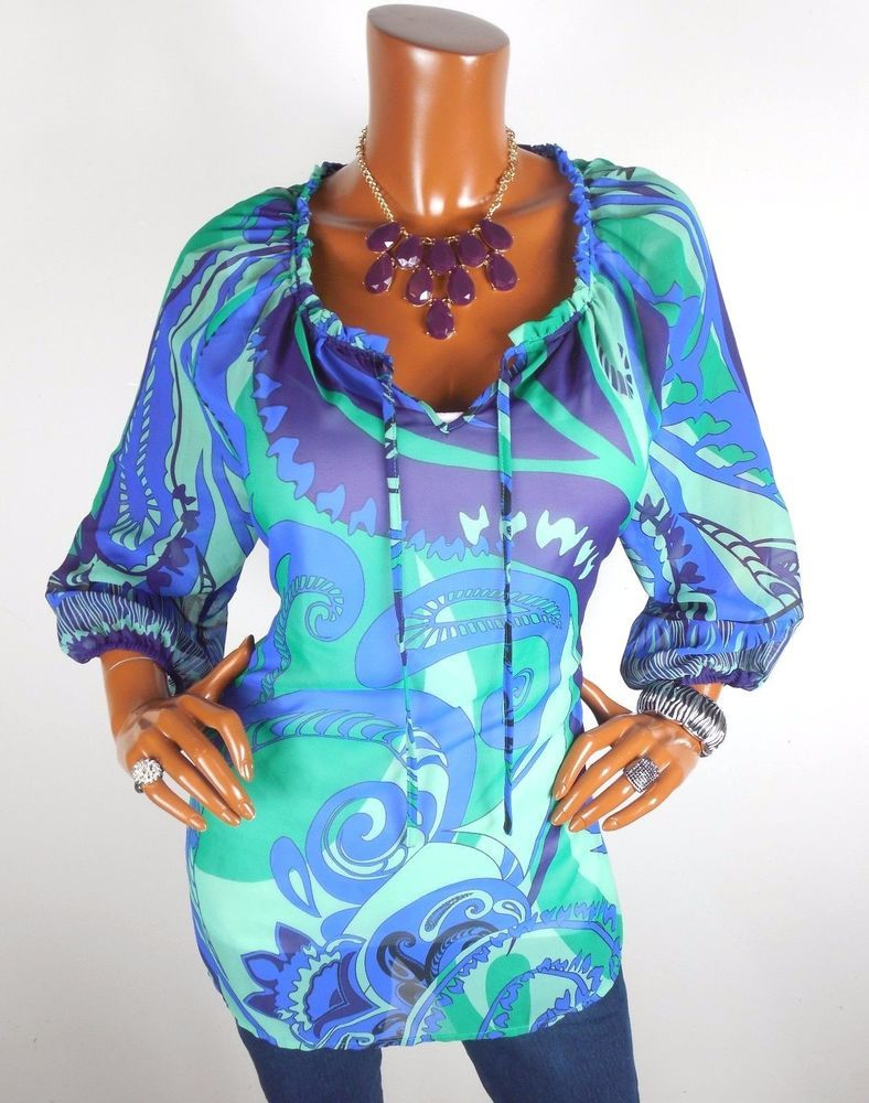 CHICO'S Sz 2 Top M L NWT Long Tunic Blouse Casual Shirt Blue Green Print Sheer #Chicos #Blouse #Casual