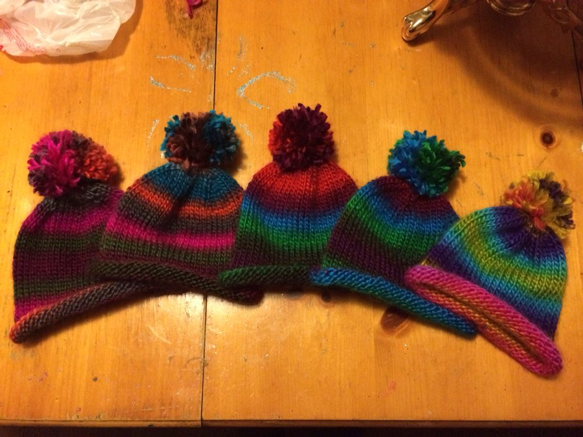 Knitted winter hats for the family kids. Lion brand landscapes