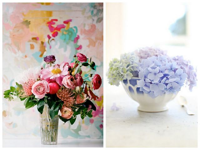 Watercolor inspired florals #wedding